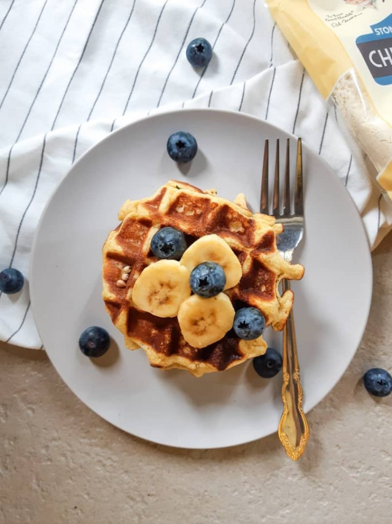 Vegan waffles on plate